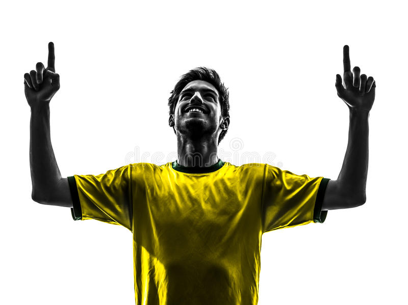 brazilian soccer football player young happiness joy man silhouette stock photo