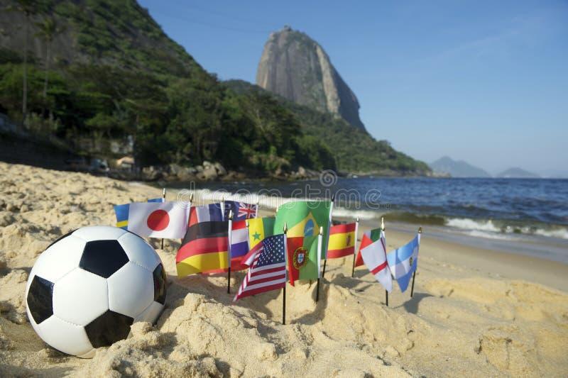 Brazilian Soccer International Flags Beach Football Rio de Janeiro royalty free stock photo