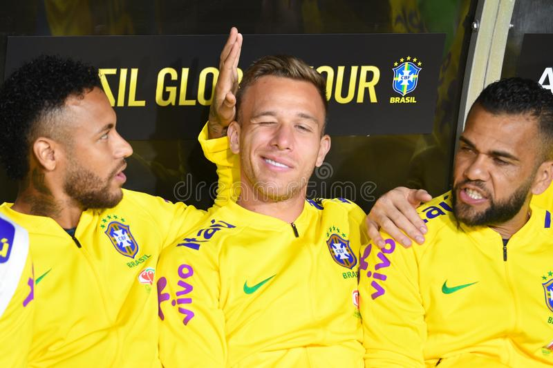 Brazilian soccer players Neymar Jr,  Arthur and Dani Alves. Los Angeles, USA - September 10, 2019: Brazilian soccer players Neymar Jr,  Arthur and Dani Alves royalty free stock photos