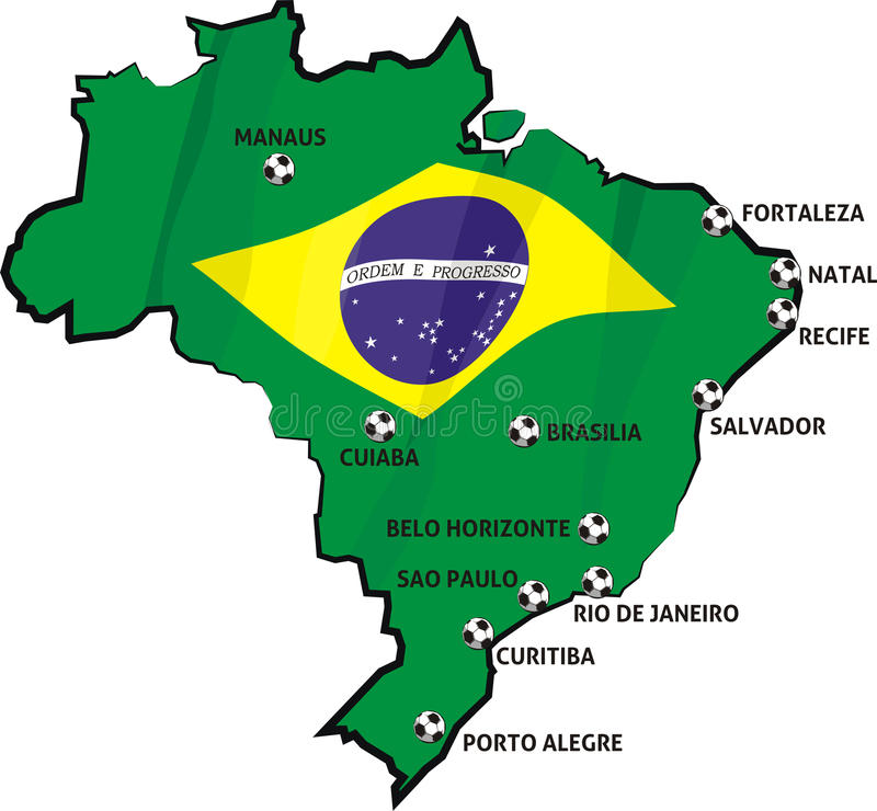 Brazilian Stadiums And Cities On The Map Of Brazil Stock Vector - Map of brazil with cities