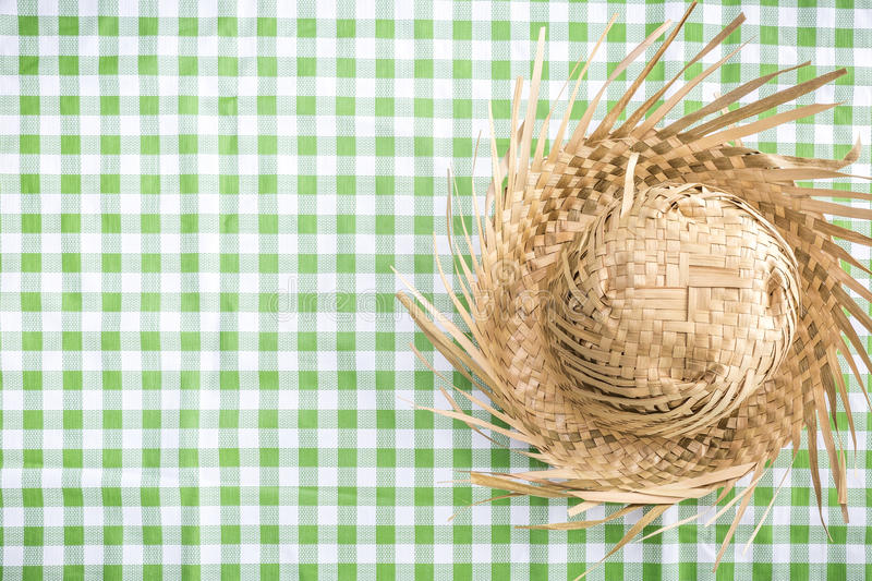 Brazilian Straw Hat on the table (Festa Junina Theme) royalty free stock photos