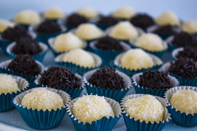 Brazilian sweet chocolate truffle bonbon brigadeiro.  stock image