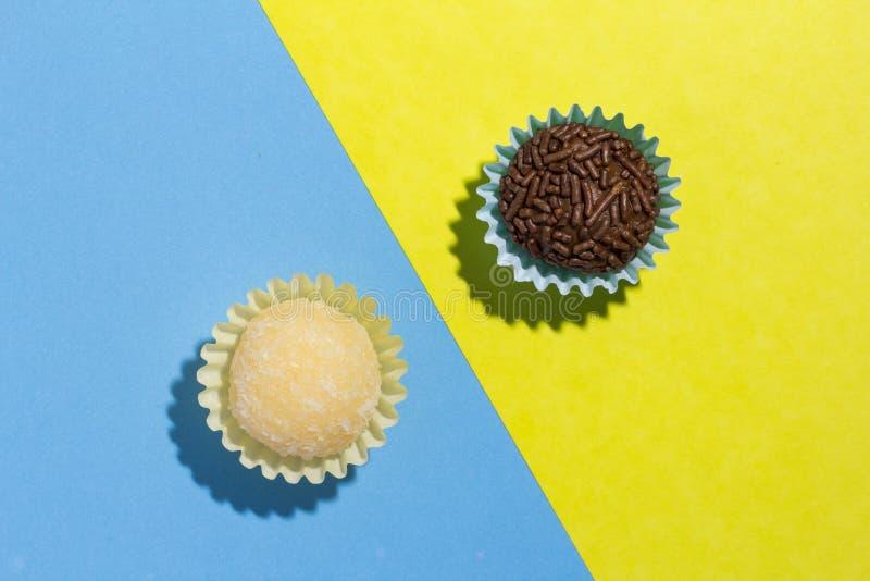 Brazilian sweets: Beijinho and Brigadeiro. Children birthday par royalty free stock images