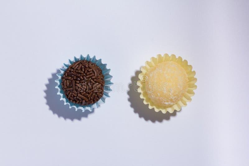 Brazilian sweets: Beijinho and Brigadeiro. Children birthday par stock photography