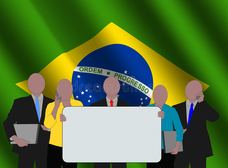 Download Brazilian team with flag stock illustration. Illustration of patriot - 6571819