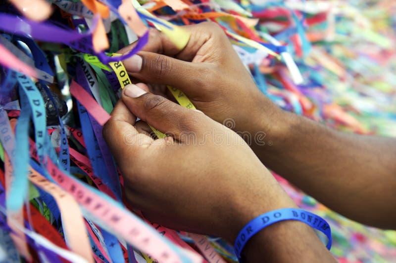 Brazilian Wish Ribbons Salvador Bahia Brazil stock photo