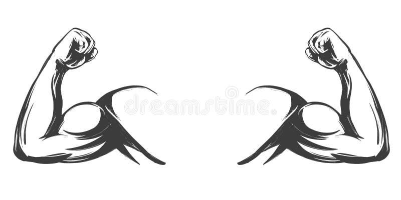 Brazo, bíceps, bosquejo exhausto del ejemplo del vector de la mano del icono de la historieta de la mano fuerte del símbolo libre illustration