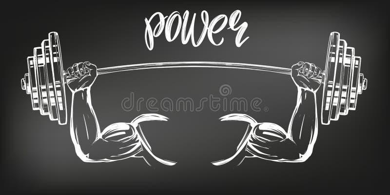 Brazo, bíceps, manos fuertes que llevan a cabo un peso, bosquejo exhausto del ejemplo del vector del texto de la historieta del i libre illustration