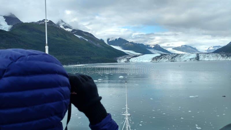 Brazo de Alaska Harvard del fiordo de la universidad del glaciar de Harvard con los picos de montaña nevados y Océano Pacífico tr imagenes de archivo