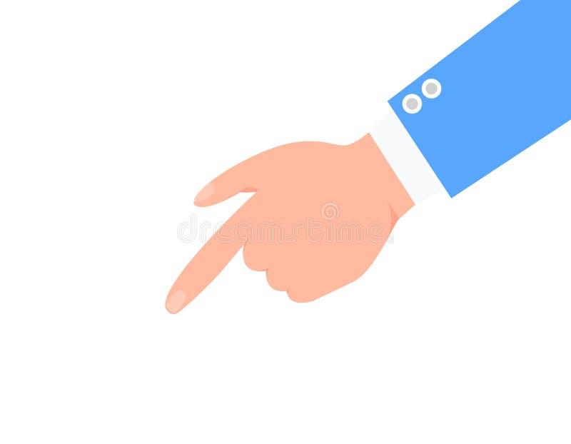 Brazo del índice y del varón en cartel azul del color del traje ilustración del vector