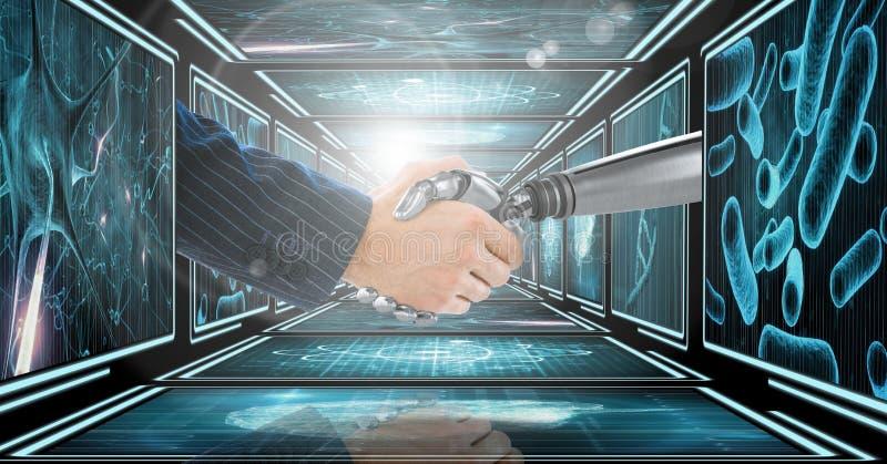 Brazo del hombre de negocios que sacude las manos con el brazo del robot 3D en el pasillo 3D foto de archivo