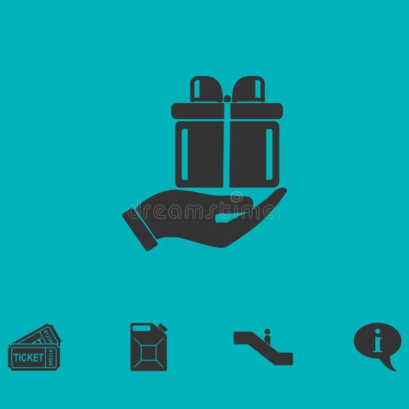Brazo del plano del icono del regalo libre illustration