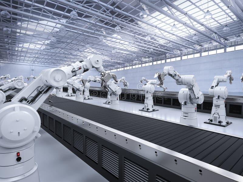 Brazo del robot con la línea del transportador stock de ilustración