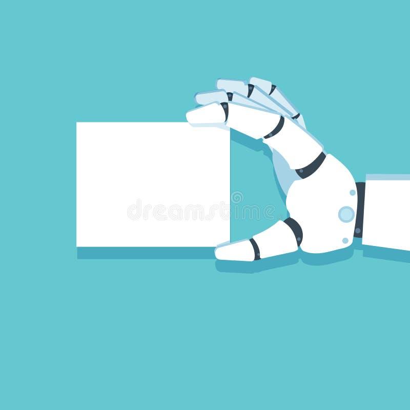 Brazo del robot, mano que sostiene la tarjeta Vector ilustración del vector