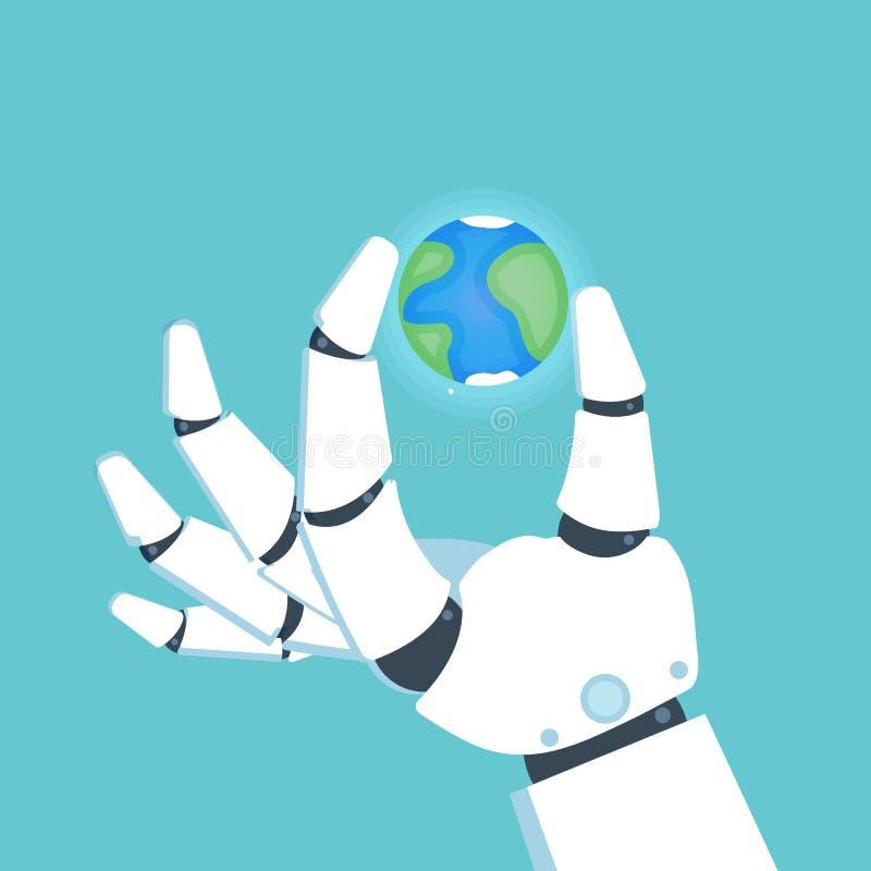 Brazo del robot, mano que sostiene la tierra del planeta Vector libre illustration