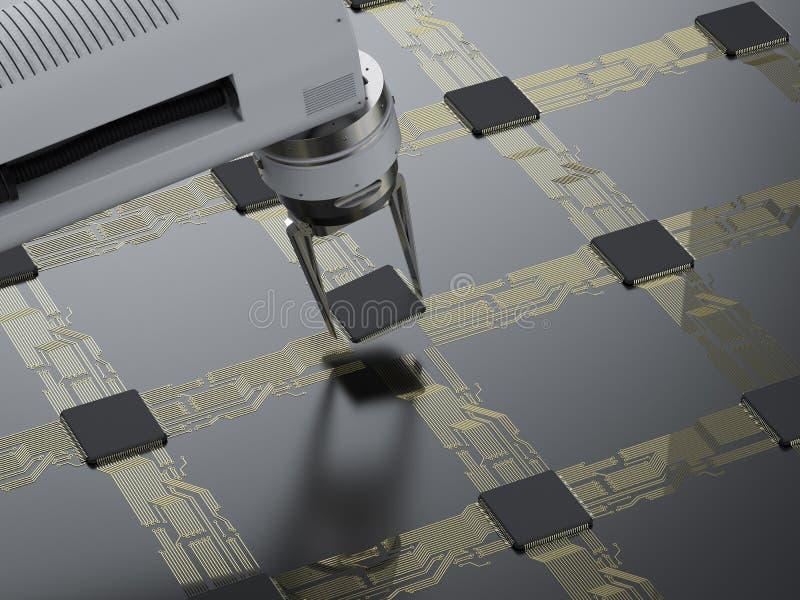 Brazo del robot que trabaja con la CPU ilustración del vector