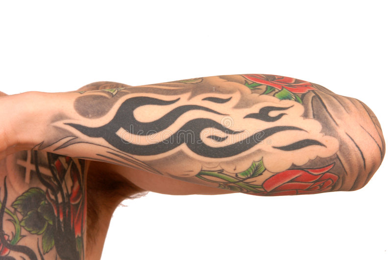 Brazo del tatuaje fotos de archivo