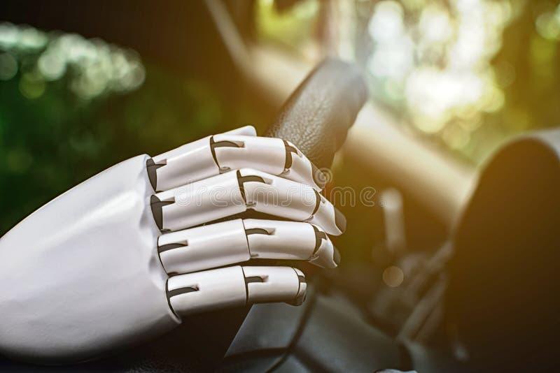 Brazo futuro automático del robot de automóviles del robot del sistema elegante de la conducción fotografía de archivo