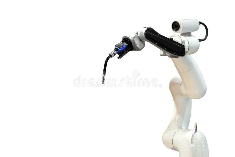 Brazo mecánico y cámara del robot en el futuro, trabajo en vez del hombre fotos de archivo libres de regalías