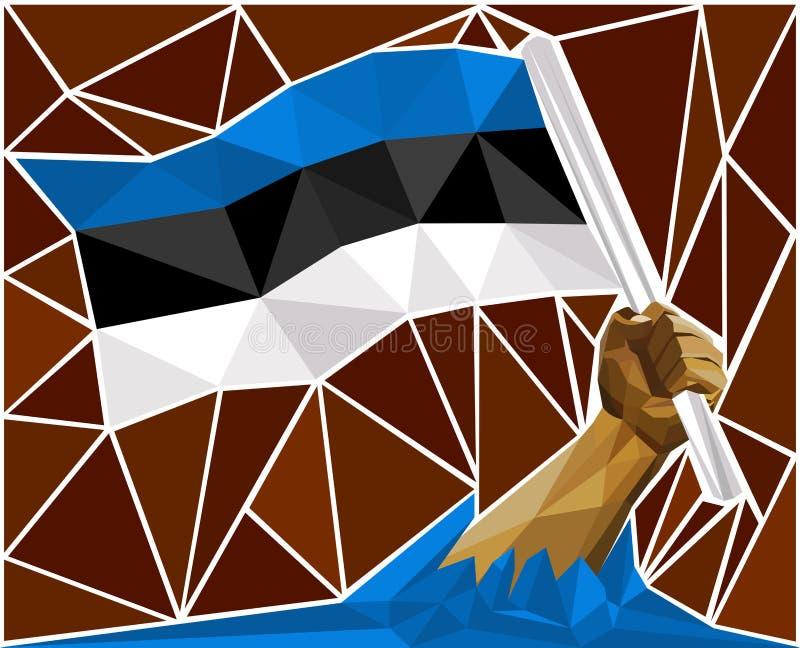 Brazo potente patriótico del hombre que aumenta la bandera nacional de Estonia libre illustration