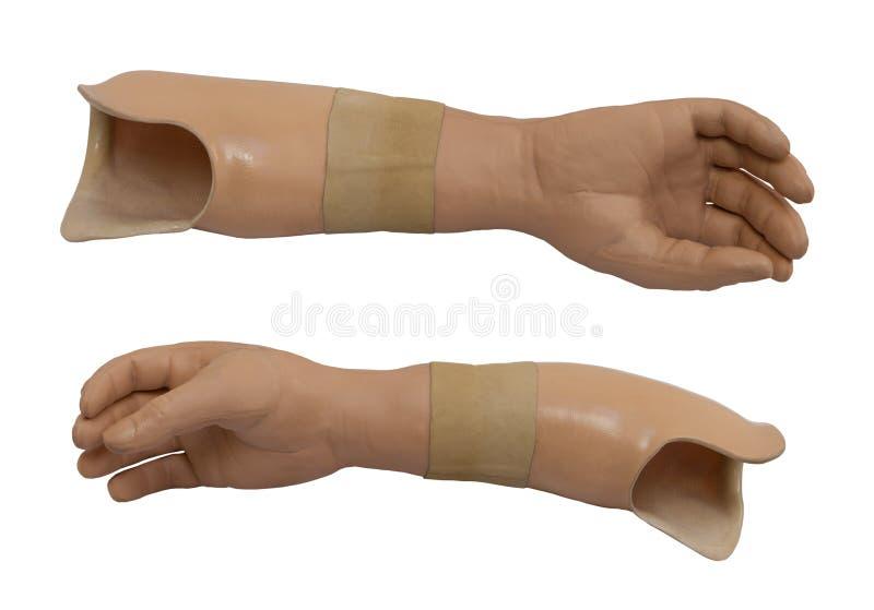Brazo prostético aislado en un fondo blanco foto de archivo libre de regalías
