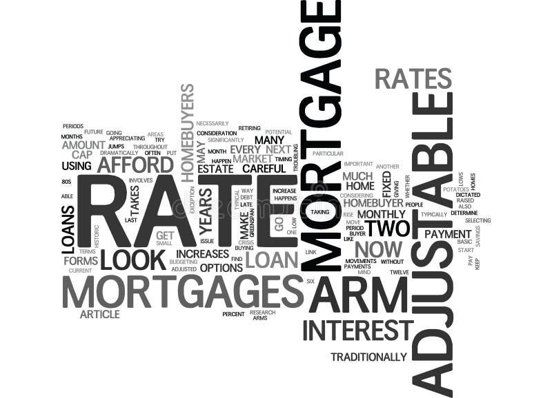 Brazo Rate Mortgages Word Cloud ajustable ilustración del vector