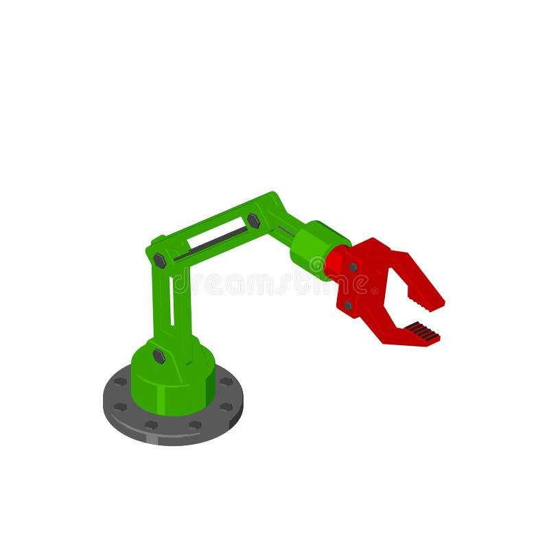 Brazo robótico Aislado en el fondo blanco Estilo de la historieta Isomet stock de ilustración