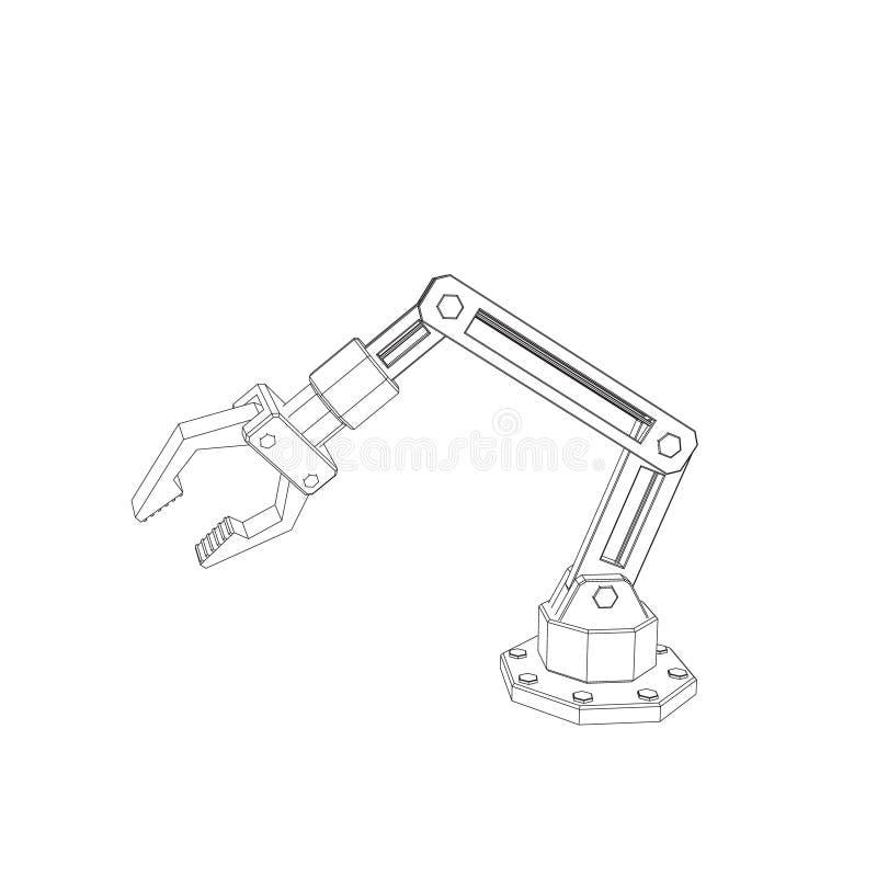 Brazo robótico Aislado en el fondo blanco Illust del esquema del vector ilustración del vector