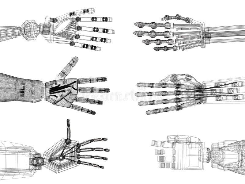 Brazo robótico - arquitecto Blueprint de las manos - aislado ilustración del vector