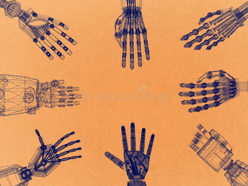 Brazo robótico - arquitecto retro Blueprint de las manos ilustración del vector