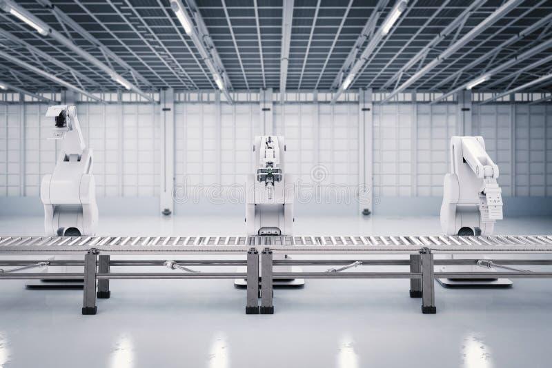 Brazo robótico con la línea del transportador fotografía de archivo libre de regalías