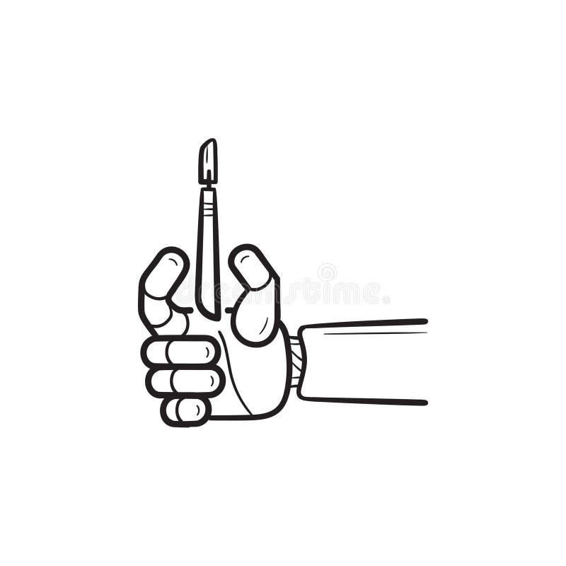 Brazo robótico de la cirugía con el icono exhausto del garabato del esquema de la mano del escalpelo stock de ilustración