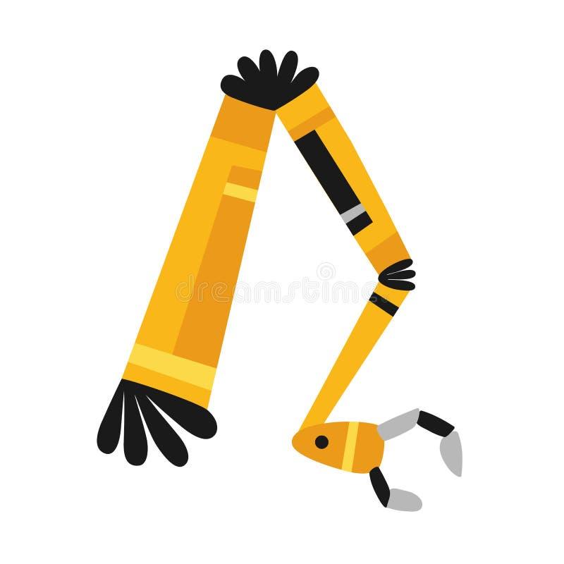Brazo robótico, mano Iconos del robot del vector fijados Símbolos industriales de la tecnología y de la fábrica Ejemplo plano ais ilustración del vector