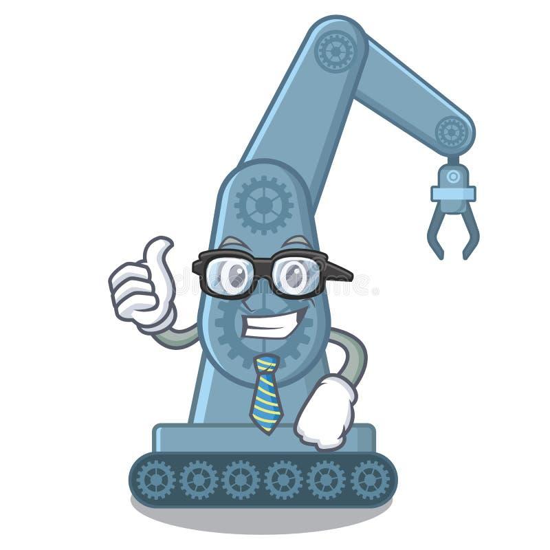 Brazo robótico mechatronic del hombre de negocios en forma de la mascota ilustración del vector
