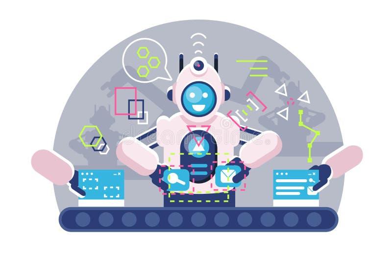 Brazos automáticos del bot del robot que trabajan en la banda transportadora ilustración del vector