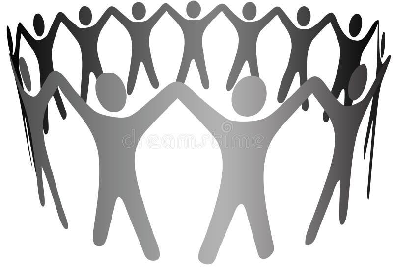 Brazos de la gente del símbolo del grupo para arriba en encadenamiento del anillo del círculo stock de ilustración