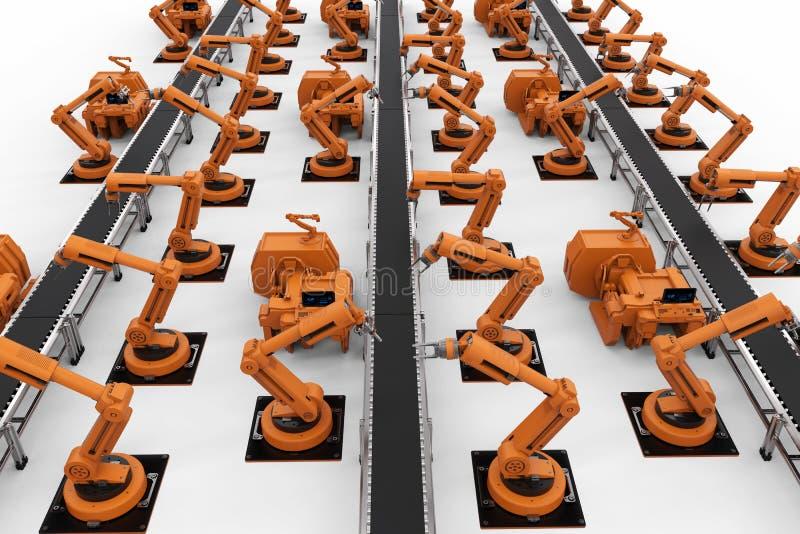 Brazos del robot con la línea del transportador fotos de archivo