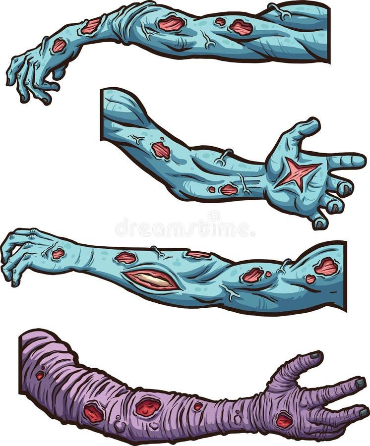 Brazos del zombi ilustración del vector