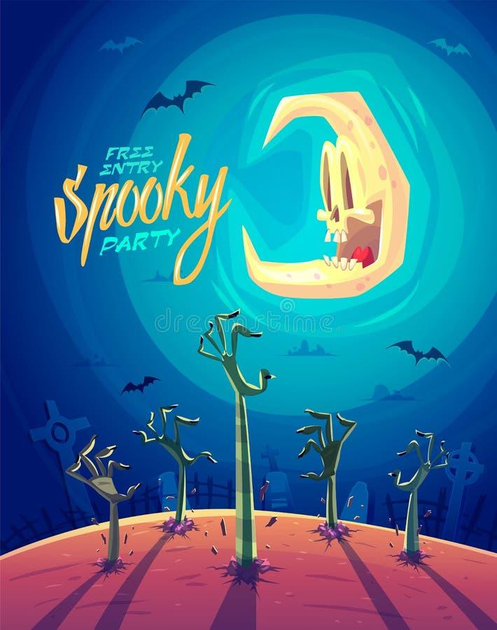 Brazos del zombi Tarjeta del fondo del cartel de Halloween libre illustration