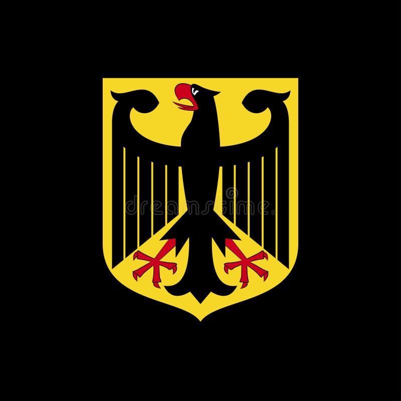 Brazos nacionales de Alemania Logotipo en un fondo negro ilustración del vector