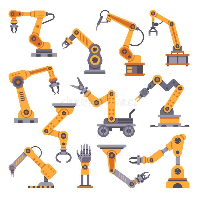 Brazos robóticos fijados Tecnología de la automatización de fabricación Máquina del brazo del robot industrial Diseño plano de lo ilustración del vector