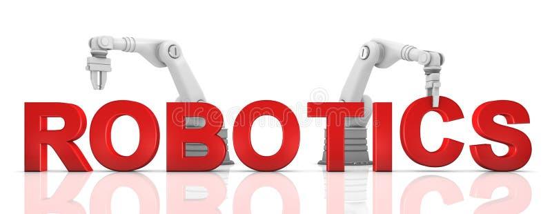 Brazos robóticos industriales que construyen palabra de la ROBÓTICA stock de ilustración