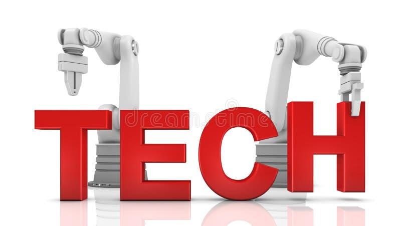Brazos robóticos industriales que construyen palabra de la TECNOLOGÍA libre illustration