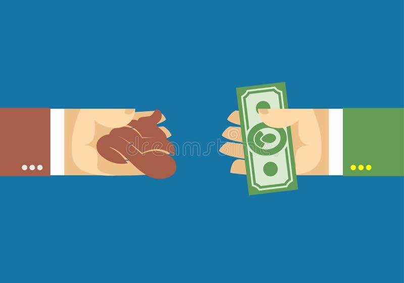 Brazos y dinero, mano y mierda Venta stock de ilustración