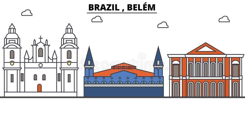 Brazylia, Belem kontur linia horyzontu, brazylijskiego mieszkania cienkie kreskowe ikony, punkty zwrotni, ilustracje Brazylia, Be royalty ilustracja