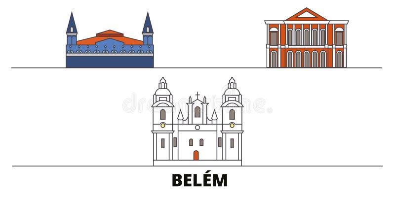 Brazylia, Belem płaska punktu zwrotnego wektoru ilustracja Brazylia, Belem kreskowy miasto z sławnymi podróż widokami, linia hory ilustracja wektor