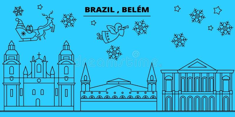 Brazylia, Belem zima wakacji linia horyzontu Wesoło boże narodzenia, Szczęśliwy nowy rok dekorowali sztandar z Święty Mikołaj Bra royalty ilustracja