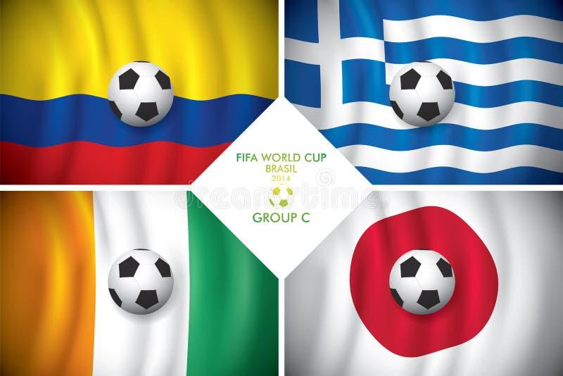 Brazylia 2014 C grupowa. FIFA słowo filiżanka. ilustracji