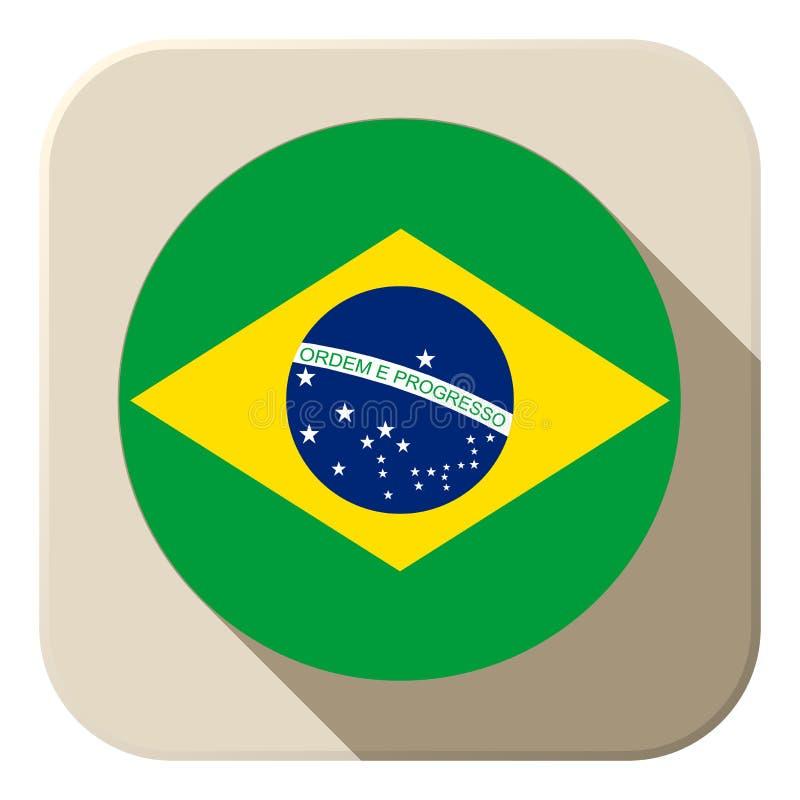 Brazylia flaga guzika ikona Nowożytna ilustracja wektor