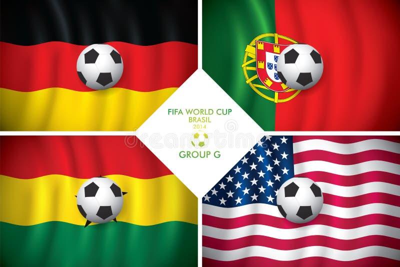 Brazylia 2014 G grupowa. FIFA słowo filiżanka. ilustracja wektor